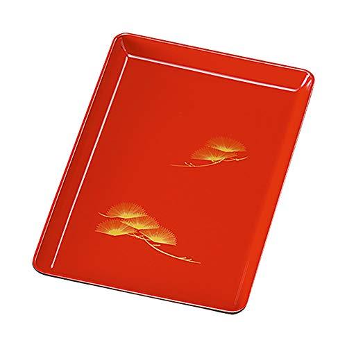 紀州塗り 8寸 24cm 木質 切手盆 朱 松