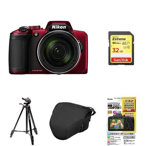 Nikon デジタルカメラ COOLPIX B600 RD 光学60倍 軽量 クールピクス レッド B600RD + アクセサリー4点(SDカード、液晶保護フィルム、カメラケース、三脚)