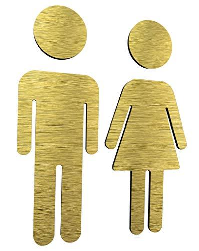Bagno adesivi per porte - wc targhette citofono - toilette adesivo per porta - adesivo porta bagno - Aluminium 14 cm x 5.1 cm - uomo donna - Unisex - Bathroom sign - Simboli targa porta - segnaletica
