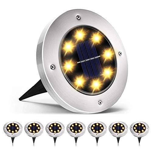 8 Pezzi Luce Sepolta Solare, 8 LED Lampade da Giardino Solari, IP67 Impermeabili, 600mAh Batteria Integrata,100LM Paesaggio Illuminazione Lampada (Bianco Caldo)
