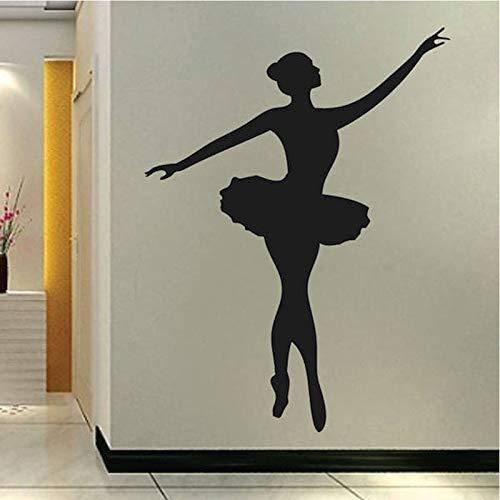 Tianpengyuanshuai Balletttänzer Wandtattoo Wand Vinyl Tanzstudio Wandaufkleber abnehmbar 63X82cm