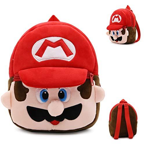 FENGHE Super Mario Schultasche Netter Cartoon Super Mario Kinder Weicher Plüsch Schultasche Rucksack Baby Boy Mädchen Kinder Charakter Monster Kinder Kleine Schultasche