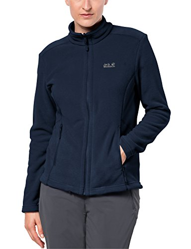 Jack Wolfskin Damen Fleecejacke W Moonrise JKT Klassisch Robust Systemreißverschluss Outdoor Fleecejacke, Midnight Blue, M, 1703881-1910003