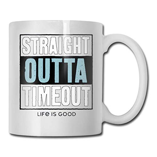 N\A Straight Outta Timeout Taza de café con Leche Personalizada Regalos de Taza de té T Regalos del día de la Madre, Regalos del día del Padre, Regalos de Abuela y Abuelo