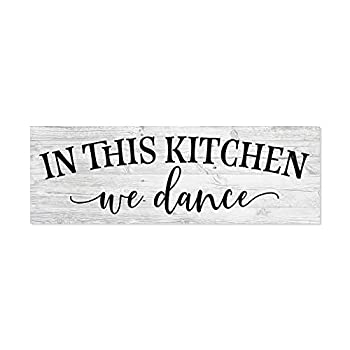 In this Kitchen we dance Farmhouse Rustic Wall Art Kitchen Sign Home Decor Wood Sign Gift 6x18 B3-06180062019