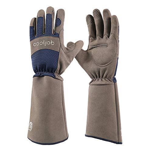 COOLJOB Rose Pruning Dornen resistent Gartenhandschuhe,lange Ärmel Stichfeste Handschuhe mit Unterarmschutz für Herren, Größe L, Blau & Grau (1 Paar L)