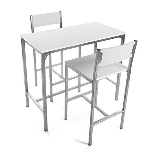 Versa Helena Set de mesa de Comedor y dos sillas Altas, Set de 3 piezas, Medidas (Al x L x An) 87 x 45 x 89 cm, Madera y Metal, Color Blanco