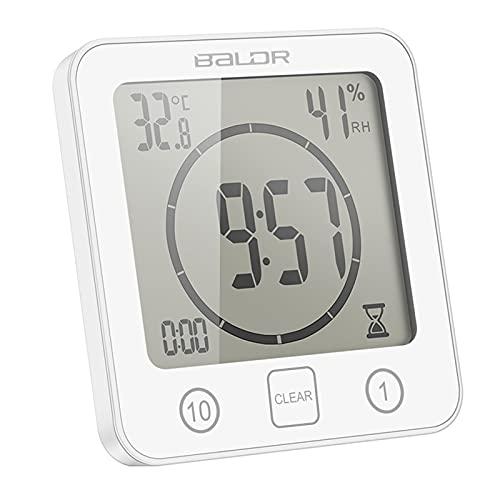 ONEVER Orologio da Bagno Temperatura umidità Digitale Orologio Digitale Orologio Timer Orologio LCD Touch Control Timer Allarme per Cucina Bagno (Bianca)