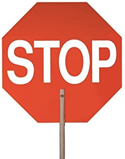 Safety Flag Stop/Stop Aluminum Paddle Sign (Double-Sided), 18 inches