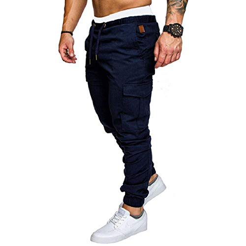 Pantalones cargo para hombre, estilo informal, con varios bolsillos, talla grande azul marino L