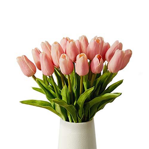 造花 枯れない花 チューリップ 造花 インテリア ギフト 大切な人へ感謝の気持ちを伝える 花束 インテリア造花アートフラワー 20本 ピンク 家、事務所、店、喫茶店、結婚式、パーティーなど様々の応用場所