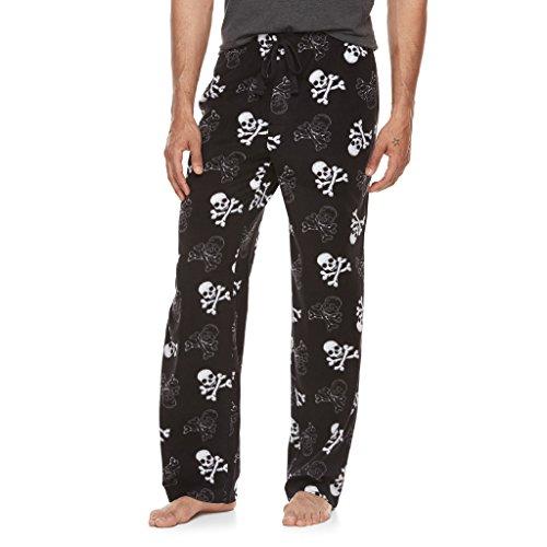 Croft and Barrow Men's Skulls Crossbones Print Ultra-Soft Brushed Microfleece Sleep Bottoms Lounge Pajama Pants Black Skulls, Medium