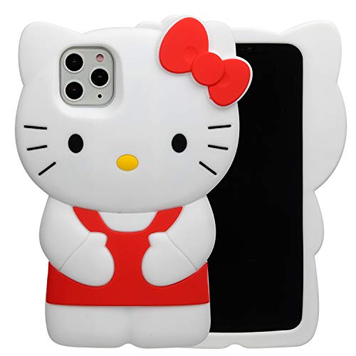 "Phenix Color Hello Kitty Case for iPhone 11 Pro Max 6.5"" 2019, Cartoon 3D Cute Soft Silicone Rubber Protective Gel Back Cover,Animated for Kids Girls (Red, iPhone 11 Pro Max 6.5"")"