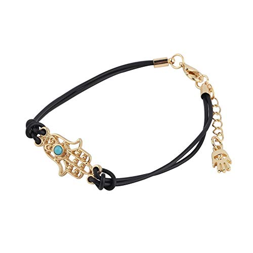 La joyería de moda pulsera de cuero chapado en oro encanto de la mano de Hamsa buena suerte mal de ojo de la cuerda de las mujeres pulsera