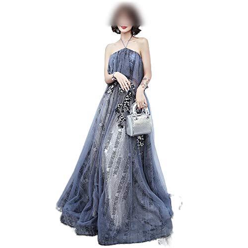 Qipao Mode Blauw Banket Elegante Avondjurk Borduurwerk Appliques Vloer-Lengte Lange Galajurk Vestidos De Noche - - XXL