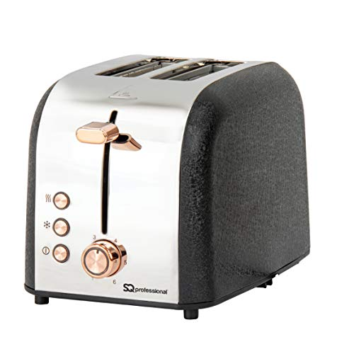 SQ Professional Epoque 2 Slice Toaster with Rose Gold & Chrome Features, High-Lift, Wide Slots & 6 Toasting Levels 900W
