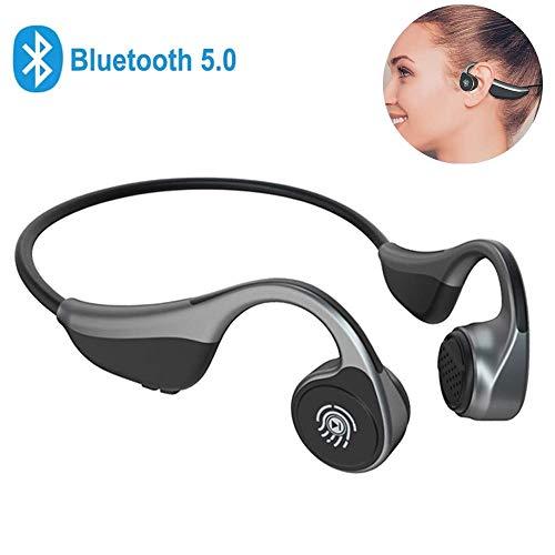 Cuffie Conduzione Ossea Bluetooth, MonoDeal Cuffie auricolari aperte Cuffie wireless Bluetooth con microfono per sport, guida, casa e ufficio, meeting online - Grigio