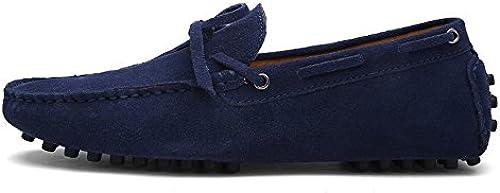 Z.L.F Herren Oxford Schuhe Driving Penny Loafers Echtes Leder Stiefel Mokassins Gummi Studs Sohle Schuhe (Farbe   Marine, Größe   11 MUS)