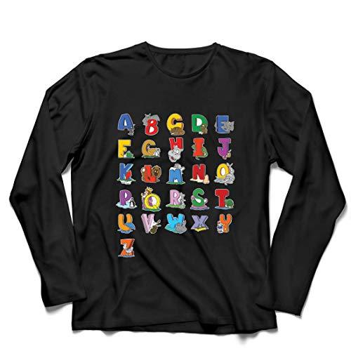 lepni.me Camiseta de Manga Larga para Hombre Alfabeto Inglés, Diseño de Canciones ABC, Aprendizaje de Letras, Regreso a la Escuela o Regalos de Graduación (XX-Large Negro Multicolor)
