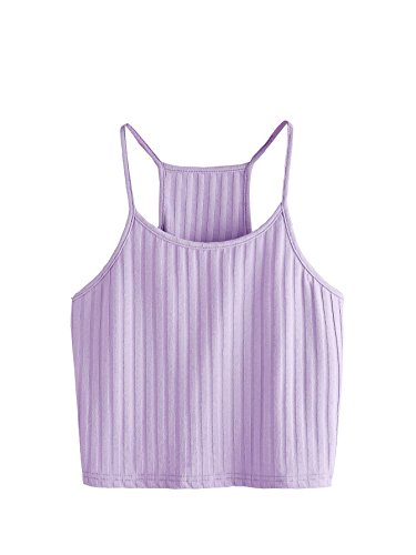 SheIn Women's Summer Basic Sexy Strappy Sleeveless Racerback Crop Top Purple Small