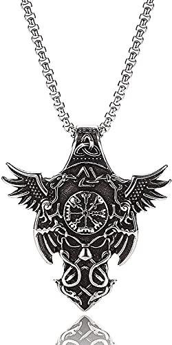 AMOZ Hombres 's Cuervo Colgante Collar Cuervo Brújula Símbolo de Acero Inoxidable Nudo Totem Amuleto, Encantos Unisex Estilo Joyería Pagana (Color: Plata, Tamaño: 60Cm),Plata,Los 60Cm