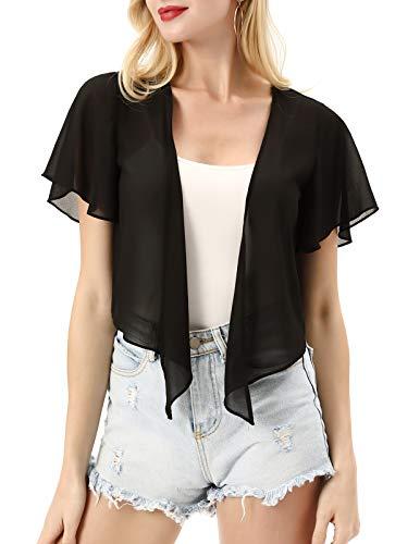 Kate Kasin Women Sheer Chiffon Tie Front Cardigans Short Sleeve Shrug Black L