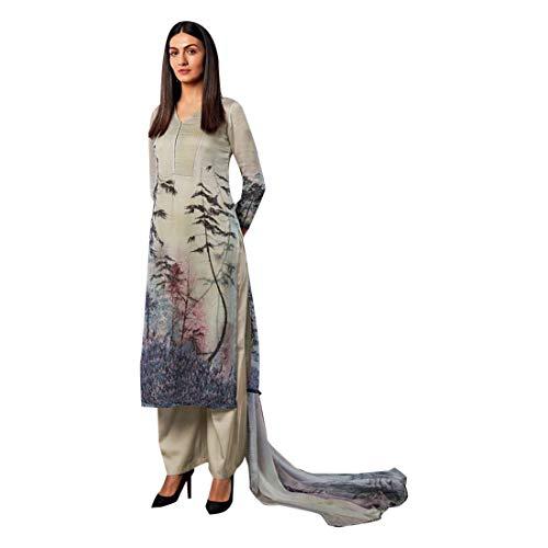 ETHNIC EMPORIUM Damen Reine Seide Swarovski Formal Salwar Kameez Anzug Semi Printed Genähte Indische Frauen Pakistani Palazzo Pants 7517 28 bis...
