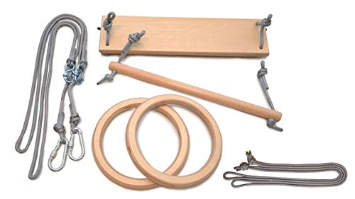 LEORIDO Premium Turngeräte für Zuhause | Schaukel, Trapez und Turnringe für Kinder | Holz | Turnen im Kinderzimmer | Kindersportgerät | Fair produziert | Handmade in Berlin (Natur -grau)