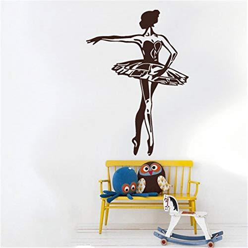 JXFM Muurstickers voor kinderkamer, meisjes, elegant, ballerina, decoratie van het huis, balletdansers, mobiele pop, kunstwandsticker, gymnastiek, 54 x 75 cm