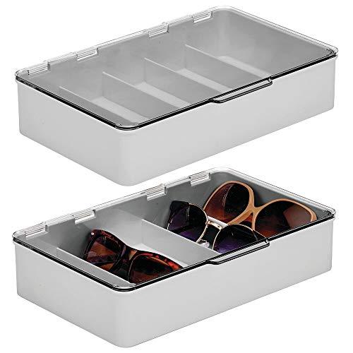 mDesign 2er-Set Aufbewahrungsbox für Brillen – Brillenablage aus Kunststoff mit 5 Fächern – Brillenaufbewahrung für Brillen, Sonnenbrillen und Lesebrillen – grau und durchsichtig