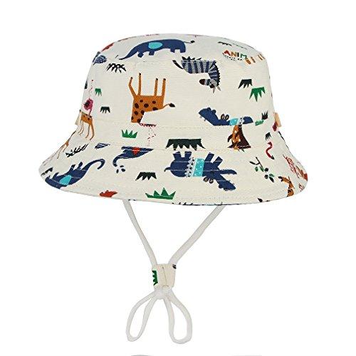 Agares Kinder Baby Sonnenhut Fischerhut Sommerhut Strandhut Jungen Mütze Schirmmütze UV Schutz (Beige, 52)