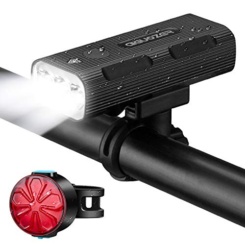 GOLDFOX Bike Lights - Bike Accessories 3 LED 1200 Lumens Bicycle Lights with USB Rechargeable 5200mAh Battery - Aluminum Alloy Shell Waterproof Bike Front and Back Tail Light