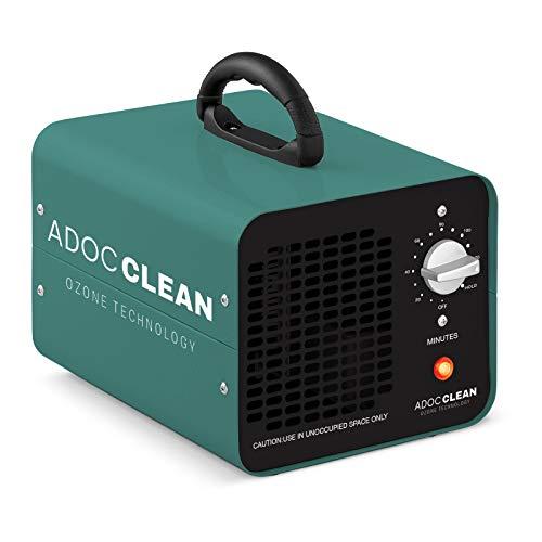 adoc clean ADOC GOZ10 Generador de Ozono para Purificar Aire 10.000 MG/h. Eliminación de Olores, bacterias, ácaros, Virus, etc, 110 W, 220 V, VERDE, Portátil 23,7 x 18 x 17,5 3 kg