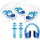 com-four® 4X Set mit Nasenklammer und Ohrenstöpsel für Schwimmer - Nasenclip und Gehörschutz Schwimmen - Nasenklemme für Kinder und Erwachsene
