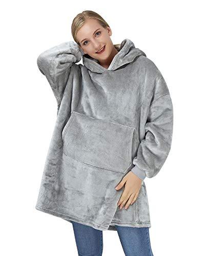 ALISISTER Übergroße Grau Hoodie Sweatshirt Decke Weiche Warme Riesen Hoodie Fronttasche Giant Plüsch Pullover Decke mit Kapuze for Erwachsene Männer Frauen Teenager