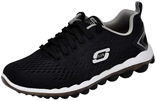 Skechers Sport Women's Skech Air Run High Fashion Sneaker, Black/Grey, 8.5 M US