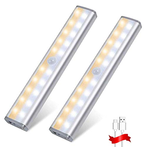 Wireless Motion Sensor Cabinet Light 20 LED USB Rechargeable Closet Lights Under Cabinet Lighting for Wardrobe/Drawer/Stairs/Cupboard/Counter/Pantry/Stairs, Stick on Anywhere, 3 Lighting Modes, 2 Pack