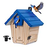 Kingsyard Wooden Bluebird House with Predator Guard Bluebird Nesting Box Birdhouse for Outside Wild Bird Watching