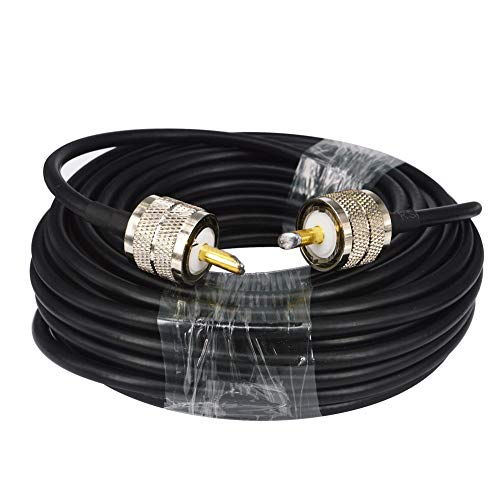 BOOBRIE RG58 UHF-Kabel PL259 Adapter UHF-Stecker auf UHF-Stecker Radioantennenkabel Amateurfunk-Koaxialkabel Verlustarmes CB-Koaxialkabel für CB Amateurfunk/Antenne/Rundfunk/Telekommunikation/CCTV 15M