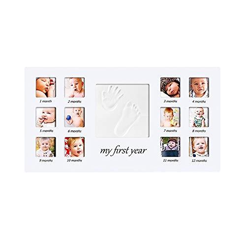 Marco de Fotos y Huellas de Bebé para Niño y Niña Marco múltiple - Mi Primer año Portafotos - Regalos de Recuerdo Cuadro Fotos y Recuerdos para Bebes #4