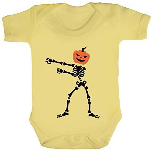 Dabbing Pumpkin Skeleton Strampler Bio Baumwoll Baby Body kurzarm Jungen Mädchen Halloween Kürbis Skelett Floss 2, Größe: 12-18 Monate,Soft Yellow