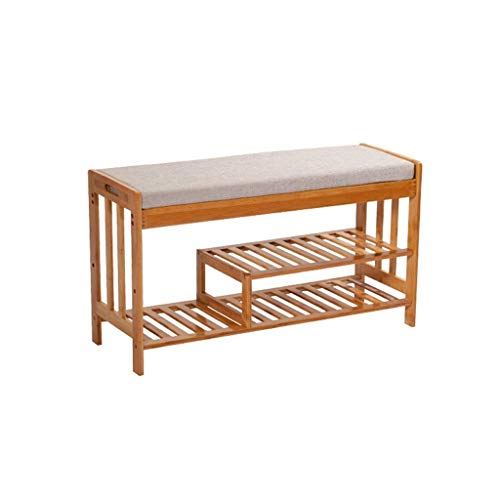 GAXQFEI Zapato Multi-Capa Simple Bambo Stay Rack Multi-Function Puede Sit Sit Sit Plain Bourting Rack Shoete Behars,Natural,Medio