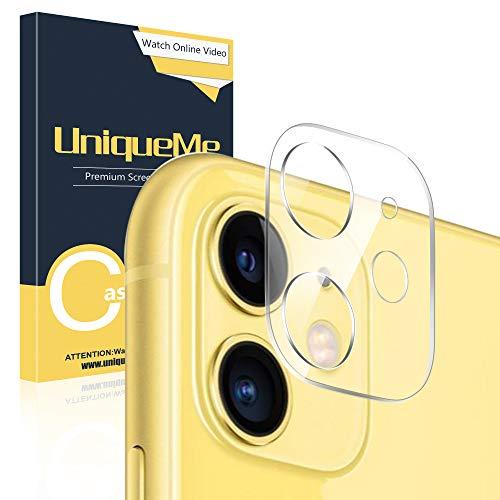 UniqueMe [1 Pack Protector de Lente de cámara para iPhone 11, Vidrio Templado [ 9H Dureza ] HD Film Cristal Templado