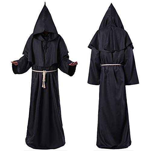VICENT Men Medieval Costume Monk Priest Monk Costume Long Sleeves Hooded Halloween Carnival Cosplay Costume Adult