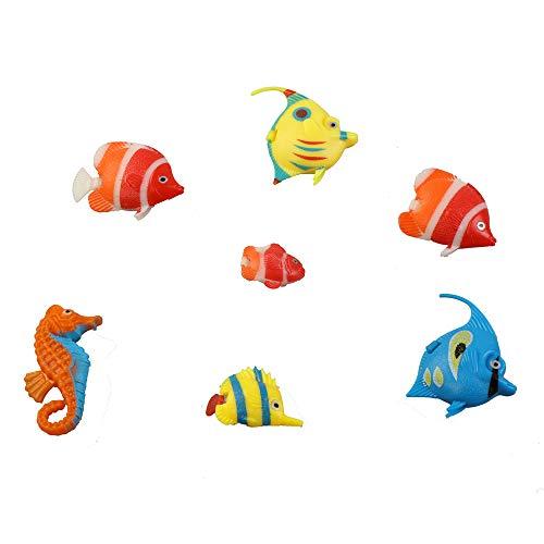 N/M 12Pcs/Set Plastic Fish Lifelike Aquarium Artificial Moving Floating Fish Decorations for Bubble Tube Lamp Fish Tank(Random Color Pattern ) (12 Pieces)