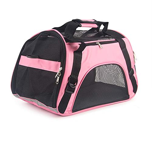 Soft-sided Carriers Portable Pet Bag Pink Dog Carrier Bags Blue Cat Carrier Outgoing Travel Breathable Pets Handbag Cat Carrier (Color : Pink, Size : 43X22X26cm)
