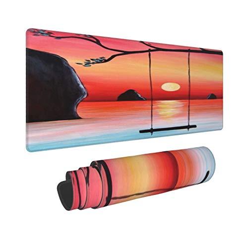 HUAYEXI Alfombrilla Gaming,Pintura al óleo Pintada a Mano de Arte Moderno,Puesta de Sol en el mar y Columpio en el árbol,con Base de Goma Antideslizante,800×300×3mm