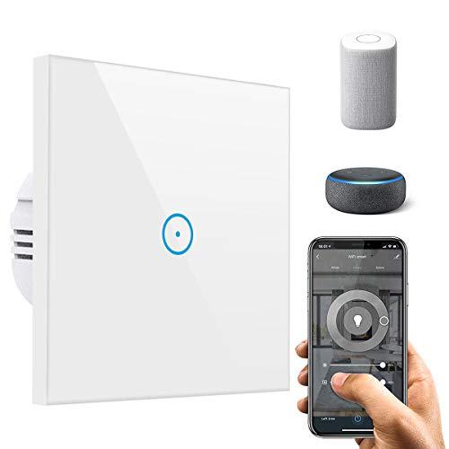 Smart Lichtschalter, 1-Weg Wifi Lichtschalter arbeitet mit Amazon Alexa, Google Home, Glas Touchscreen, Ihrer Geräte von überallre(Netural Line Needed)