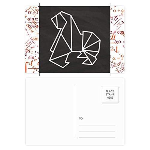 Juego de 20 tarjetas de agradecimiento con forma geométrica de perro de origami abstracto