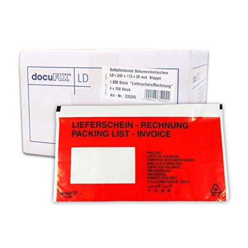 1000 Lieferscheintaschen DIN lang (bedruckt mit Lieferschein Rechnung) von docuFIX® classic Begleitpapiertaschen Versandtaschen [Bürobedarf & Schreibwaren]